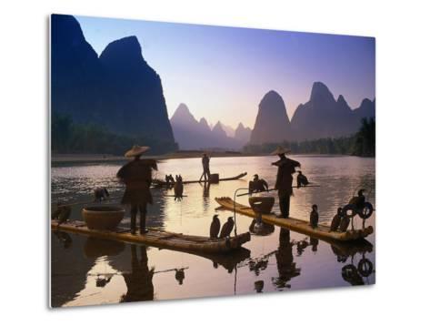 Cormorant, Fisherman, China-Peter Adams-Metal Print