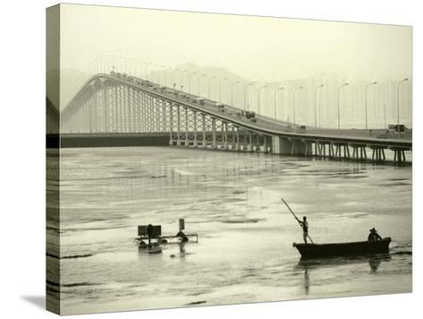 Fishing Near Bridge, Macau, China-Kindra Clineff-Stretched Canvas Print