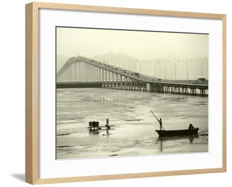 Fishing Near Bridge, Macau, China-Kindra Clineff-Framed Art Print