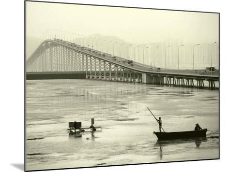 Fishing Near Bridge, Macau, China-Kindra Clineff-Mounted Photographic Print