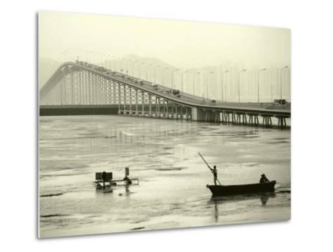 Fishing Near Bridge, Macau, China-Kindra Clineff-Metal Print