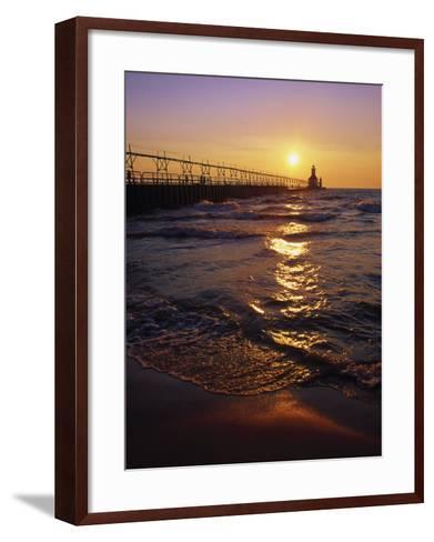 Sunset at Lighthouse, Lake MIchigan, MI-Mark Gibson-Framed Art Print