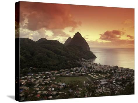 Sunset View of the Pitons and Soufriere, St. Lucia-Walter Bibikow-Stretched Canvas Print