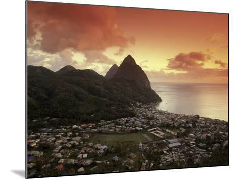 Sunset View of the Pitons and Soufriere, St. Lucia-Walter Bibikow-Mounted Photographic Print