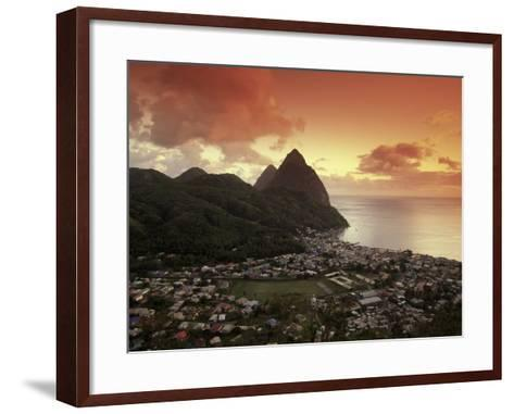 Sunset View of the Pitons and Soufriere, St. Lucia-Walter Bibikow-Framed Art Print
