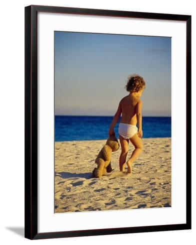 Toddler on the Beach, Miami, FL-Robin Hill-Framed Art Print