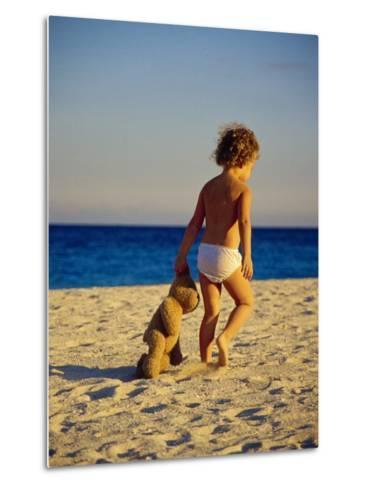Toddler on the Beach, Miami, FL-Robin Hill-Metal Print