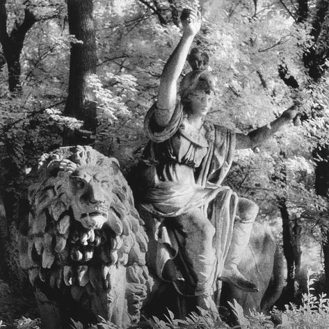 Statue in the Giardini Pubblici, Castello-Simon Marsden-Stretched Canvas Print