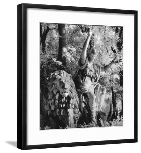 Statue in the Giardini Pubblici, Castello-Simon Marsden-Framed Art Print