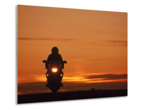 Silhouetted Motorcyclist at Sunset, Marin City, CA-Robert Houser-Metal Print