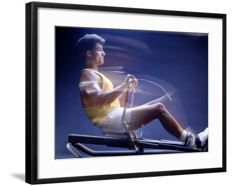 Man on Rowing Machine-Daniel Fort-Framed Art Print