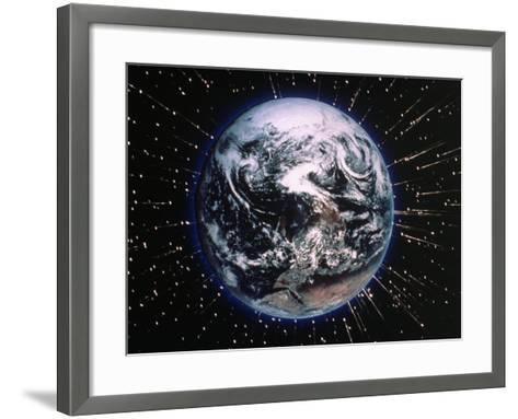 Earth Bombarded by Stars-Chris Rogers-Framed Art Print