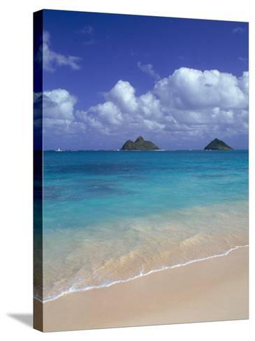 Cloud Filled Sky Over Blue Sea, Lanikai, Oahu, HI-Mitch Diamond-Stretched Canvas Print