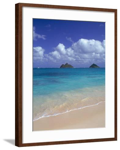 Cloud Filled Sky Over Blue Sea, Lanikai, Oahu, HI-Mitch Diamond-Framed Art Print