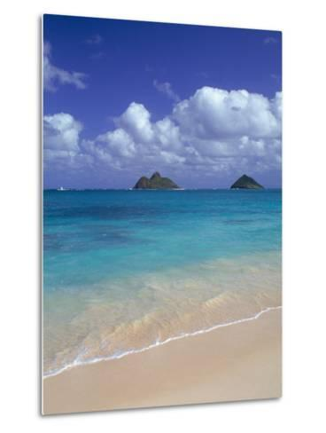 Cloud Filled Sky Over Blue Sea, Lanikai, Oahu, HI-Mitch Diamond-Metal Print