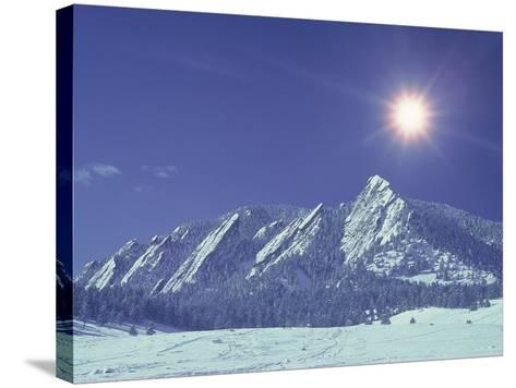 The Flatirons Near Boulder, CO, Winter-Chris Rogers-Stretched Canvas Print