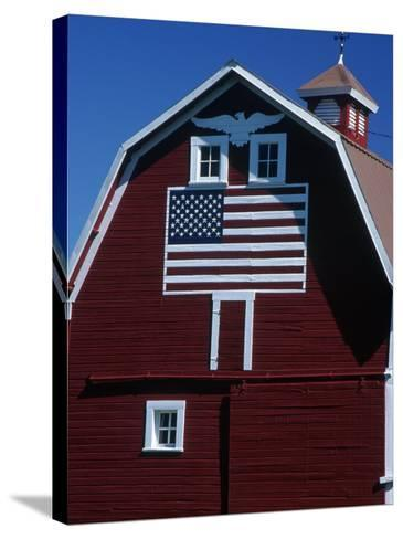 Barn with American Flag, Palouse County, WA-Christopher Jacobson-Stretched Canvas Print