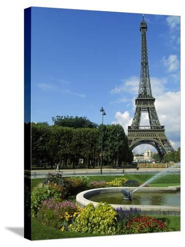 Eiffel Tower, Flowers and Fountain, Paris, France-James Lemass-Stretched Canvas Print