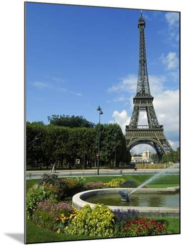 Eiffel Tower, Flowers and Fountain, Paris, France-James Lemass-Mounted Photographic Print