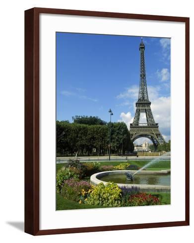 Eiffel Tower, Flowers and Fountain, Paris, France-James Lemass-Framed Art Print