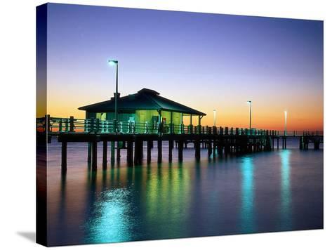 Fishing Pier at Sunrise, Fort de Soto Park, FL-David Davis-Stretched Canvas Print