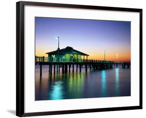 Fishing Pier at Sunrise, Fort de Soto Park, FL-David Davis-Framed Art Print