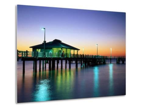 Fishing Pier at Sunrise, Fort de Soto Park, FL-David Davis-Metal Print