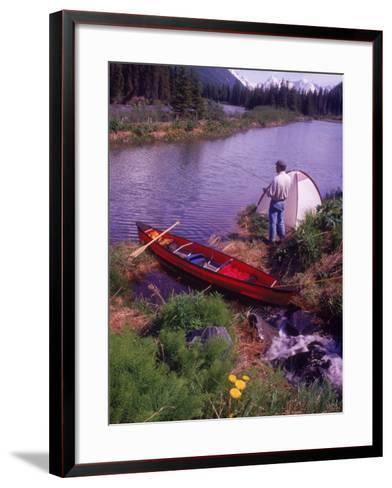 Man Camping and Fishing-Mike Robinson-Framed Art Print