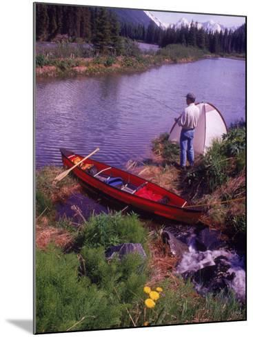 Man Camping and Fishing-Mike Robinson-Mounted Photographic Print