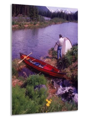 Man Camping and Fishing-Mike Robinson-Metal Print