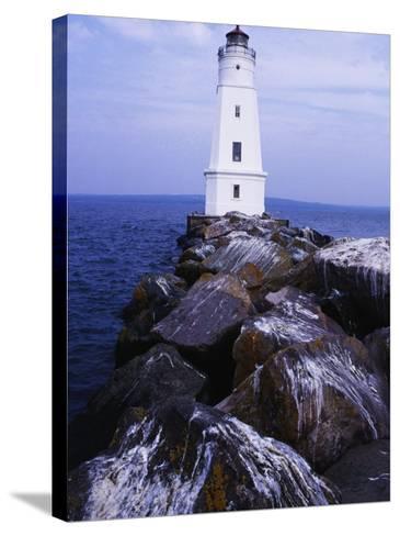 Ashland Breakwater Lighthouse, WI-Ken Wardius-Stretched Canvas Print
