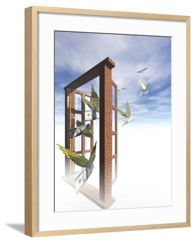 Money Flying Out of the Window-Carol & Mike Werner-Framed Art Print