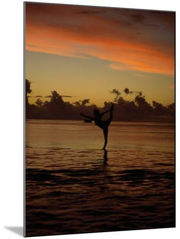 Woman Doing Yoga in Water at Sunset, Tahiti-Barry Winiker-Mounted Photographic Print