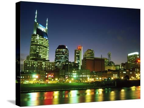 Skyline with Reflection in Cumberland River-Barry Winiker-Stretched Canvas Print