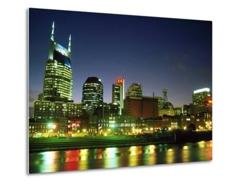 Skyline with Reflection in Cumberland River-Barry Winiker-Metal Print