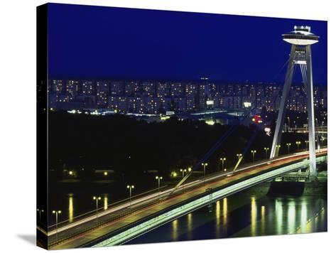 'Novy Most' New Bridge, Bratislava, West Slovakia-Walter Bibikow-Stretched Canvas Print
