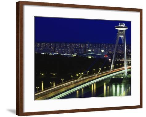 'Novy Most' New Bridge, Bratislava, West Slovakia-Walter Bibikow-Framed Art Print