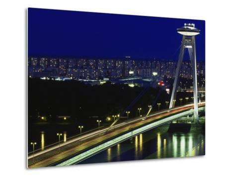 'Novy Most' New Bridge, Bratislava, West Slovakia-Walter Bibikow-Metal Print