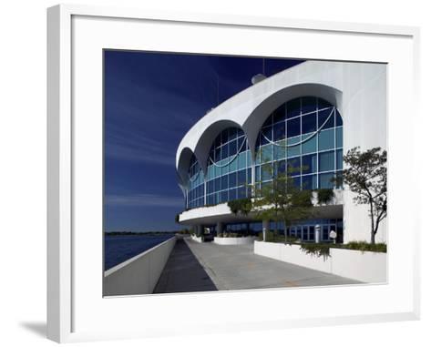 Monona Terrace, Lake Monona, Madison, WI-Walter Bibikow-Framed Art Print
