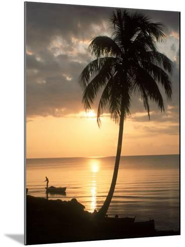 Sunrise with Man in Boat and Palm Tree, Belize-Frank Staub-Mounted Photographic Print