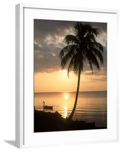 Sunrise with Man in Boat and Palm Tree, Belize-Frank Staub-Framed Art Print
