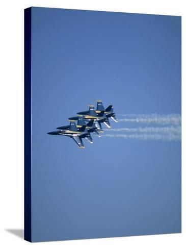 USN Blue Angels Flying in Formation-John Luke-Stretched Canvas Print