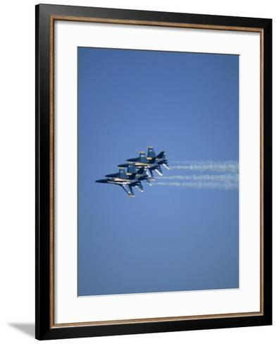 USN Blue Angels Flying in Formation-John Luke-Framed Art Print