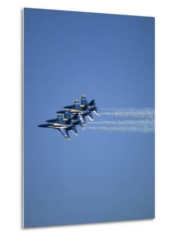 USN Blue Angels Flying in Formation-John Luke-Metal Print