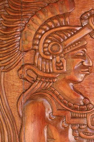 Mayan Wood Carving, Gales Point, Belize-Robert Houser-Stretched Canvas Print