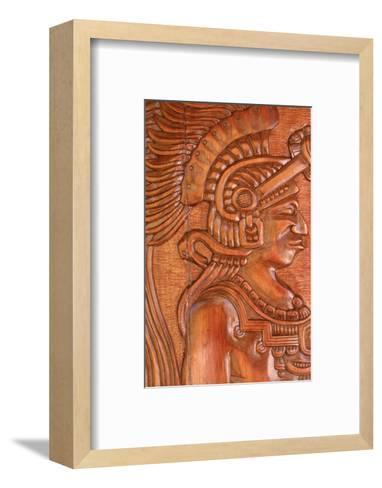 Mayan Wood Carving, Gales Point, Belize-Robert Houser-Framed Art Print