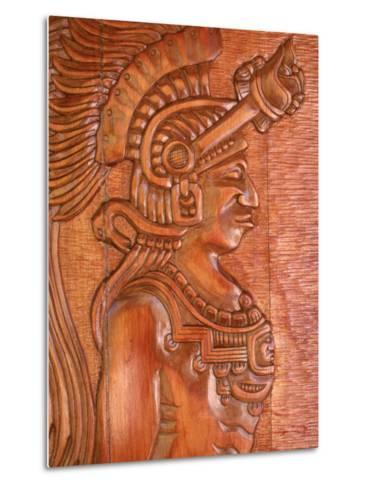 Mayan Wood Carving, Gales Point, Belize-Robert Houser-Metal Print