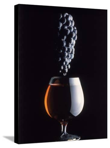 Bunch of Grapes Over a Glass of Wine-Howard Sokol-Stretched Canvas Print