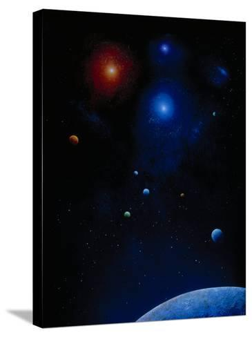 Illustration of Planets and Stars-Ron Russell-Stretched Canvas Print