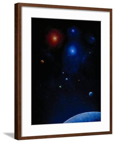 Illustration of Planets and Stars-Ron Russell-Framed Art Print